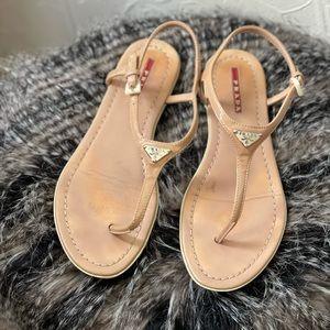 Prada Nude T-Strap Sandal